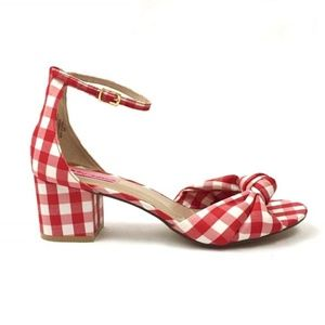 Betsey Johnson /// Red and White Gingham Fay Heels